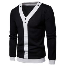 Laamei 2018 Autumn Winter Black White Patchwork Men Pullover Sweaters For Male Buttons Long Sleeve Casual Chompas Para Hombre(China)