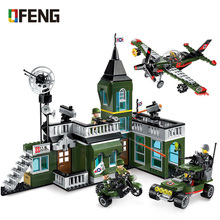 Military Series Command Bomber building blocks aircraft Helicopter figure bricks Compatible With  toys children gift