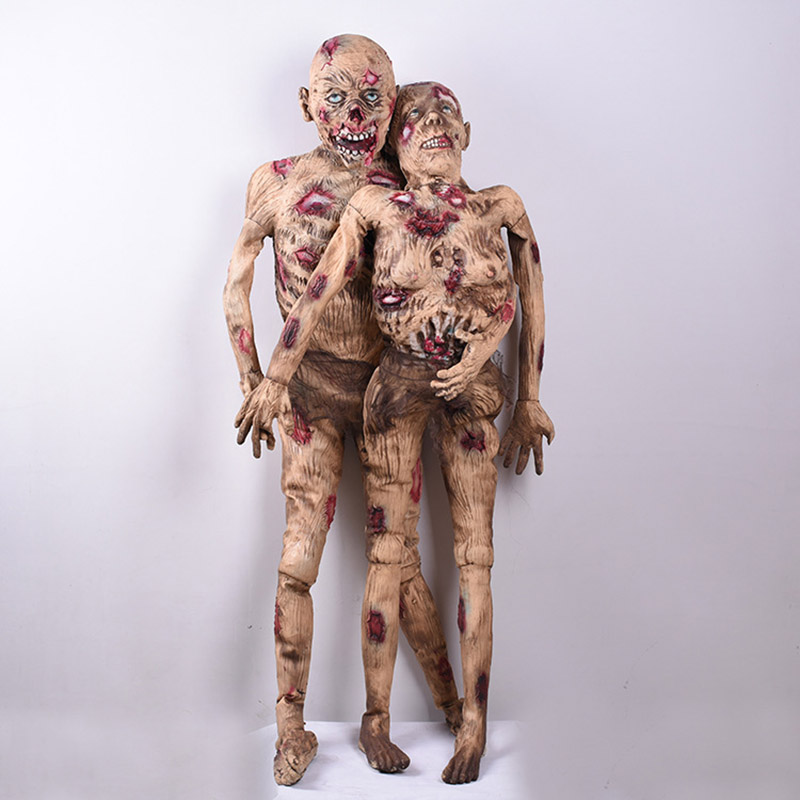 Standing Men/Women Zombie Halloween Decoration Horror Props Bloody Body Ghost Simulation Dry Corpse Model Creepy Rotten People