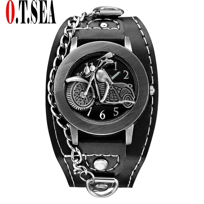 Hot Sales Fashion O.T.SEA Brand Cool Motorcycle Leather Watch Men Sports Quartz Wrist Watch Relogio Masculino 1831-4