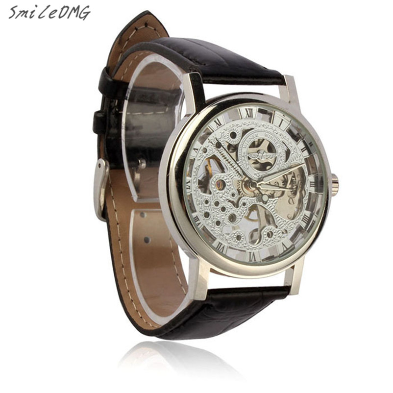 SmileOMG Mens Luxury Mechanical Skeleton Watch Hand Wind Up Leather Strap Wristwatch Christmas Gift Free Shipping ,Sep 8  1pcs men s luxury mechanical wristwatch skeleton watches hand wind up leather strap free shipping wholesale relogio masculino j5