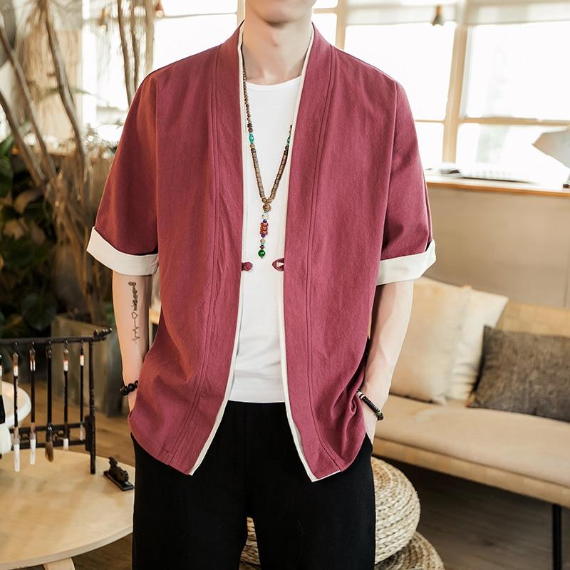 Image 2 - 2019 Men Cotton Linen Jacket China Style Kongfu Coat Male Loose Kimono Cardigan Overcoat Open Stitch Coat Mens Windbreaker 5XL-in Jackets from Men's Clothing