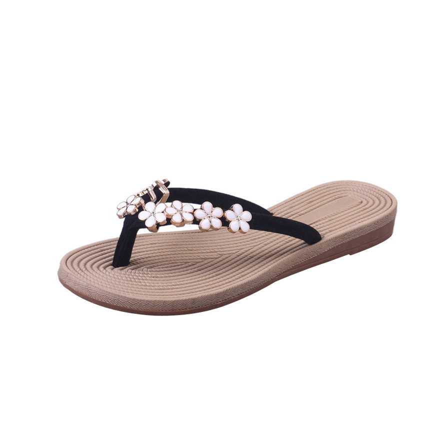 New Arrival Fashion Women Summer Sandals Slipper Indoor Outdoor Flip-flops Flower Round Toe Beach Shoes Leisure Slides Sandals S plus size34 43 2016 new fashion women slides black flip flops shoes wedges pumps beading casual women s slipper sandals ps2572