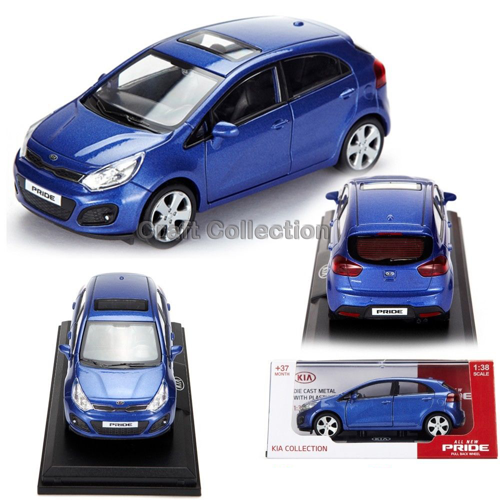 Blue 1/38 Kia Pride Rio Diecast Metal Mini Car Scale Model Toy 3 Colors Available Building Vehicle Classic Toys Miniature Craft - Collection store