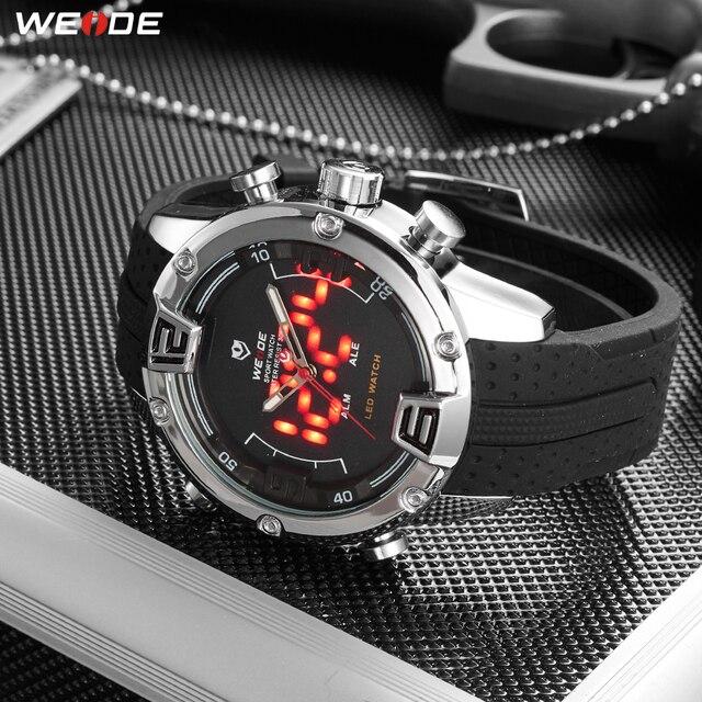WEIDE Man Sport Luxe Casual Bedrijvengids Analoge led Quartz Klok Militaire Siliconen Band Horloges Relogio Masculino