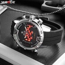 WEIDE hombre deportes de lujo Casual de negocios analógico movimiento de cuarzo led reloj militar correa de silicona relojes reloj Masculino