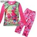 Kids Pajamas Cotton Christmas Pijama Girls Character Robes o-Neck Spring Winter Girls Sleepwear Trolls Teenage Clothes SYHB12076