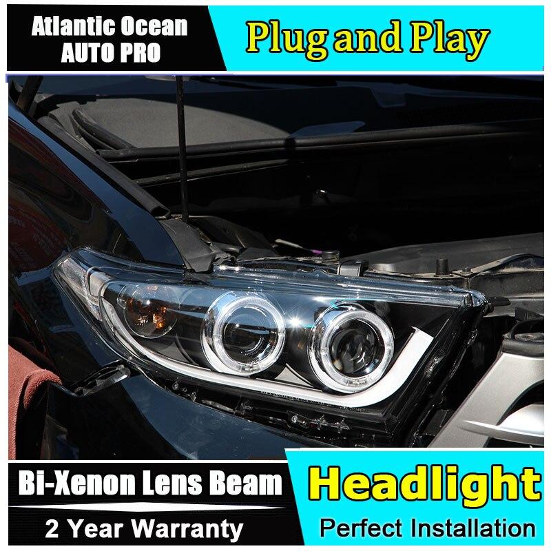Car Styling 2012-2014 Headlights for Toyota Highlander LED Headlight angel eyes led drl HID KIT Bi-Xenon Lens low beam xenon