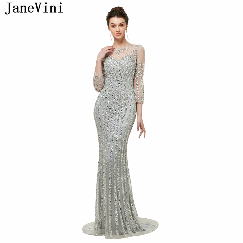JaneVini Luxurious Crystal Beaded Tulle Long   Bridesmaid     Dresses   with Sleeves Illusion Back Mermaid Formal Prom Gowns Sweep Train