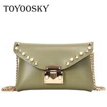 TOYOOSKY Fashion Rivets Waist Pack Luxury Designer Fanny Small Women Messenger Bag Phone Pouch Chest Belt Purse