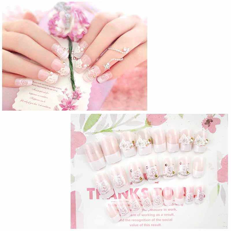 24 Pcs/Set Wedding Bride Full Nails Tips With Glue Flowers Shining 3D Diamond PEARL Rhinestone Fake Nail Art Tool