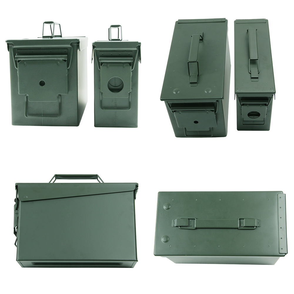 Metal Ammo Can 30/50 Cal Air Tight Waterproof Military Army Solid Steel Holder Ammo Box Long-Term Bullet Valuables Storage Box
