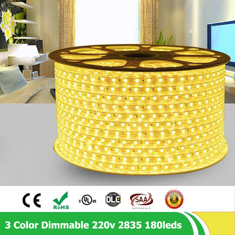 20m/lot 2835 SMD double row 180leds/m 220V - 240V Dimmable flexible LED strip ribbon rope ligh warm white , natural white plug ...