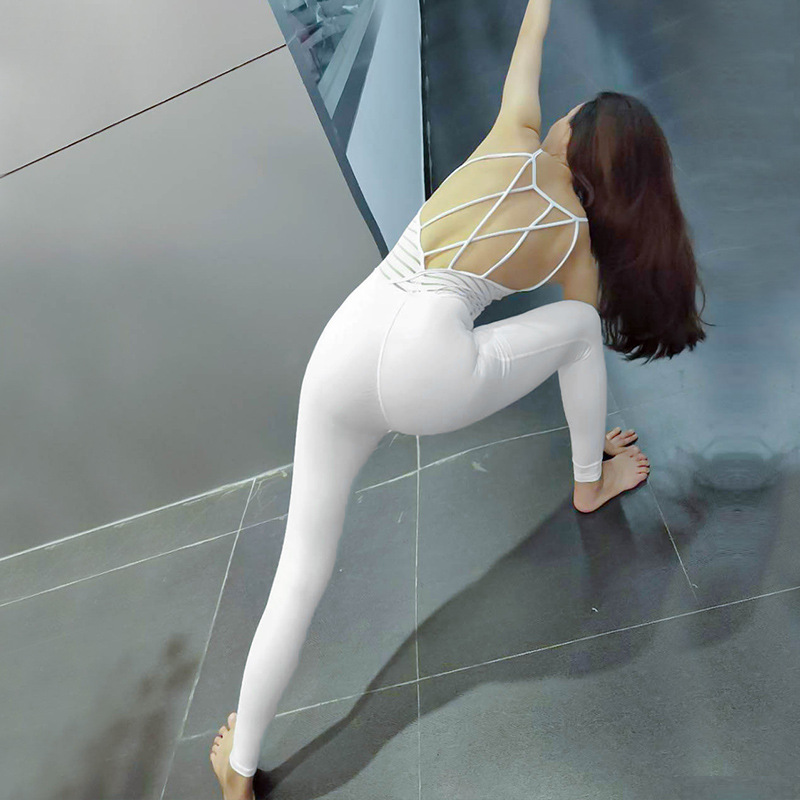 купить Sexy Cross Back Yoga Mesh Jumpsuits Women Quick Dry Skinny Dance Fitness Tracksuit Stretchy Ballet Aerial Yoga Bodysuits по цене 4687.07 рублей