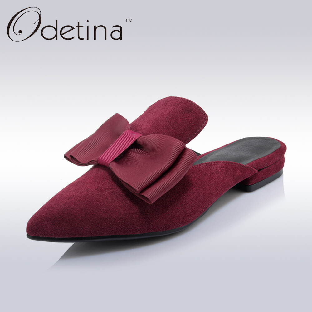 Odetina Brand 2017 Genuine Leather Summer Women Pointed Toe Slingback Flats Bow Tie Flat Shoes Half Slippers Mules Cuir Femme meotina brand design mules shoes 2017 women flats spring summer pointed toe kid suede flat shoes ladies slides black size 34 39