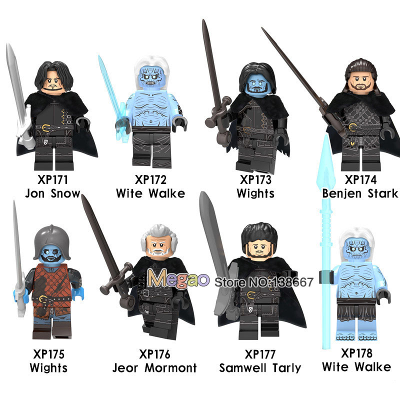 Wholesale 50PCS LOT Game of Thrones 8 Silver Gold Knight Soldier Ice and Fire Building Blocks