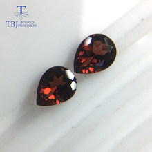 Tbj , Natural red Mozambique loose gemstone pear 7*9 mm 3.75ct two piece one set for silver gemstone jewelry usd22.99/set .(China)