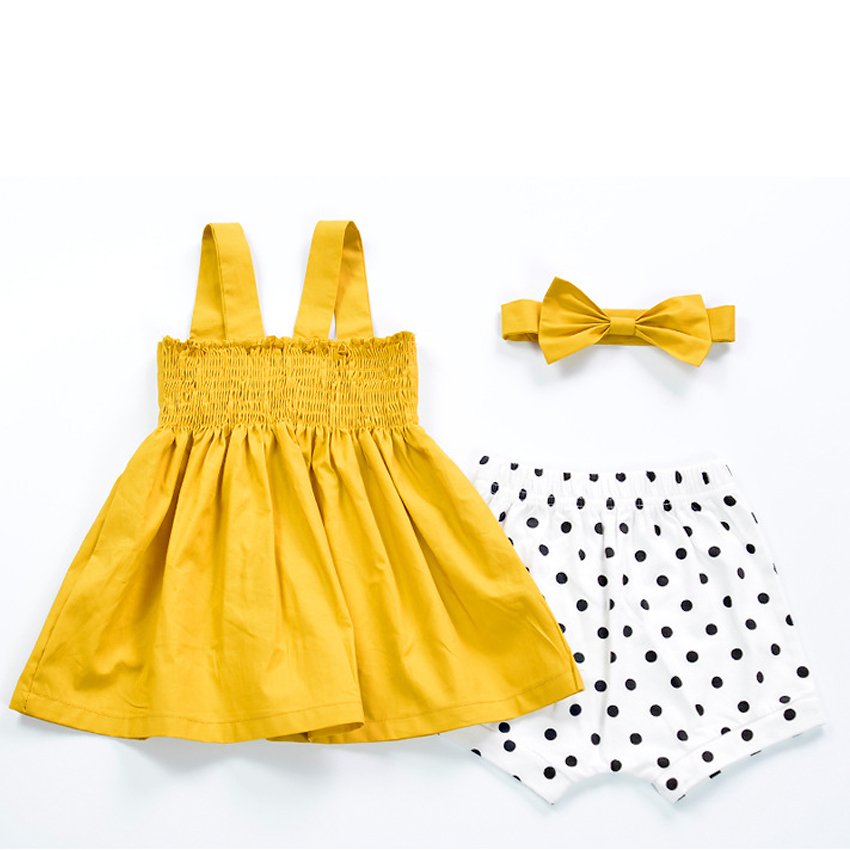 b9bbc4d2b3b66 US $9.56 33% OFF|Cute Baby Girls Summer Sundress Bowknot Short Mini Vest  Dress Toddler Kids Cotton Casual Dresses Sleeveless Outfit Yellow-in  Dresses ...