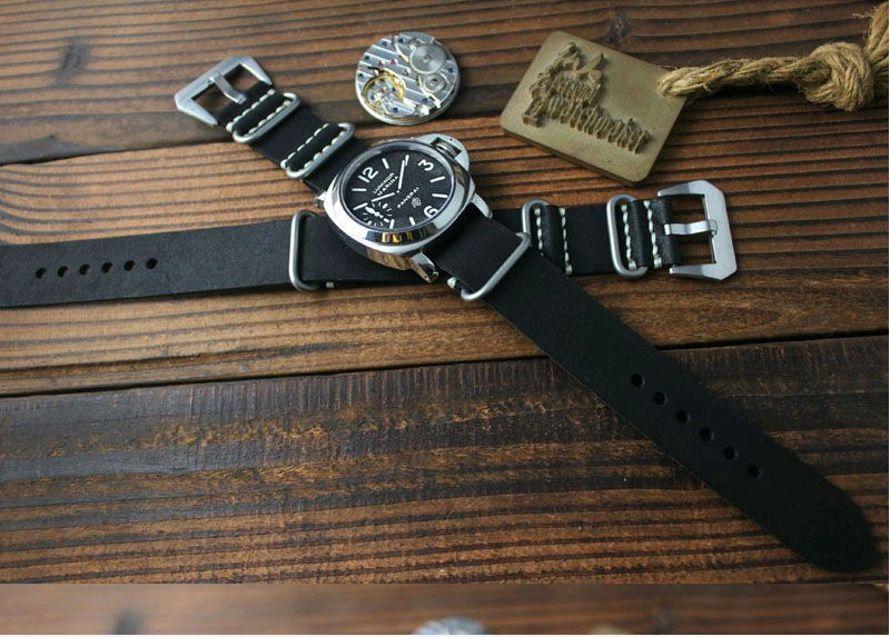 цены Handmade 20mm 22mm 24mm 26mm Black Extended Version Of The Retro Style Leather WatchBands ZULU Strap Free Shiping