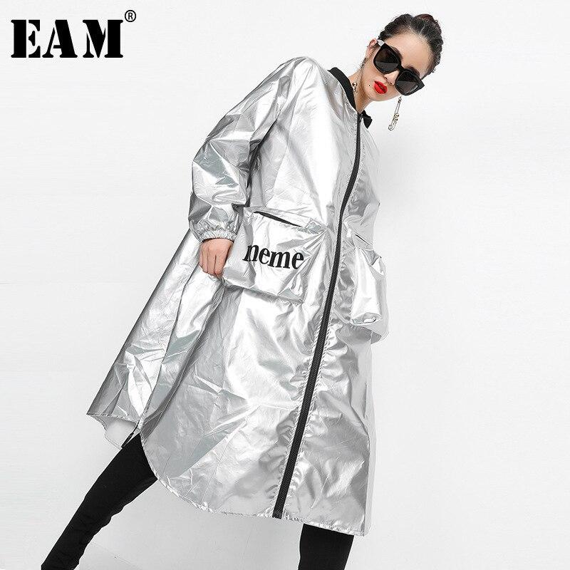 [EAM] 2018 Новый осень-зима Стенд воротник с принтом букв из металла Цвет большой Размеры Длинная ветровка Для женщин пальто мода прилив JH530
