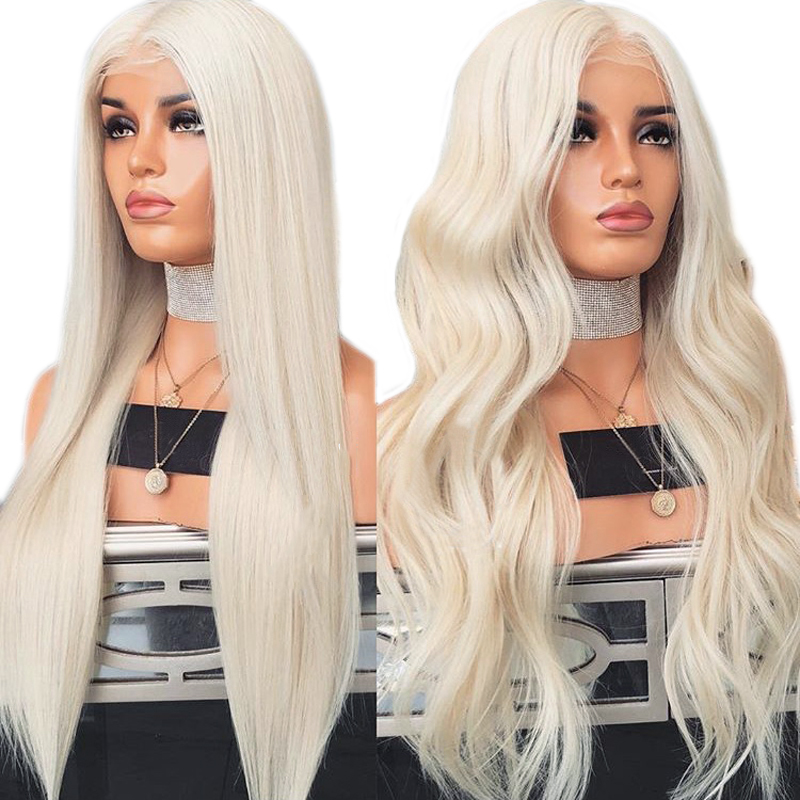 Charisma #60 Platinum Blonde Wig With Baby Hair 26 Inch Synthetic Lace Front Wig Glueless Heat Resistant Wigs For Women