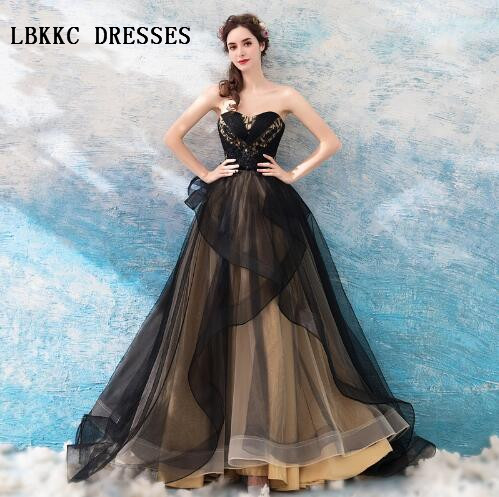 Vestido De Festa Longo Elegant Sweetheart Black   Evening     Dress   Floor Length Abiti Da Cerimonia Da Sera