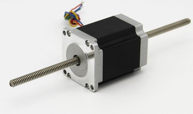 ФОТО 57mm miniature stepping motor Dual Shaft CNC Linear Stepper Motor T through type stainless steel wire rod diameter 8MM 2 phase
