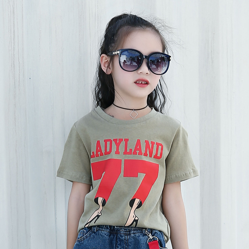 Children 39 s clothing 2019 new summer girls casual personality cotton short sleeved T shirt Sold separately hole blue jeans in Clothing Sets from Mother amp Kids