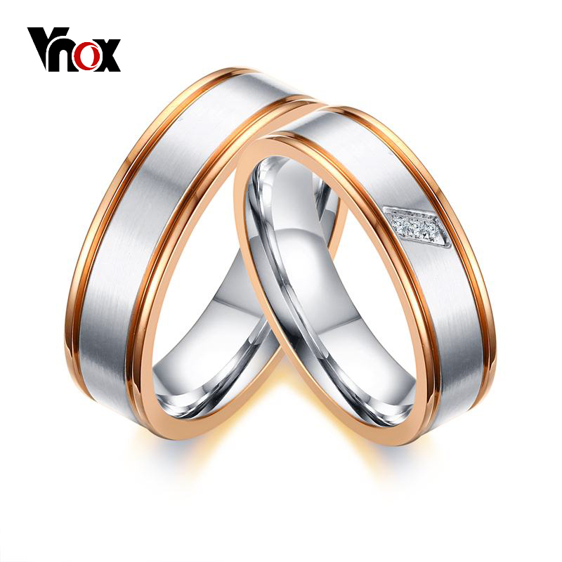 Vnox Simple Rose Gold color Edge Wedding Rings Band for ...