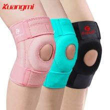 Kuangmi 2PCS Adjustable Knee Patella Support 4 Spring Bars Knee Brace Outdoor Running Hiking Kneepad Safety Guard Strap Protect недорого