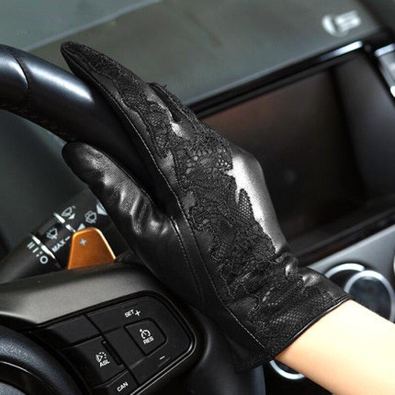 Hiver gants en cuir véritable femmes mode noir épaissir Plus velours dentelle broderie peau de mouton conduite gant NW079-5