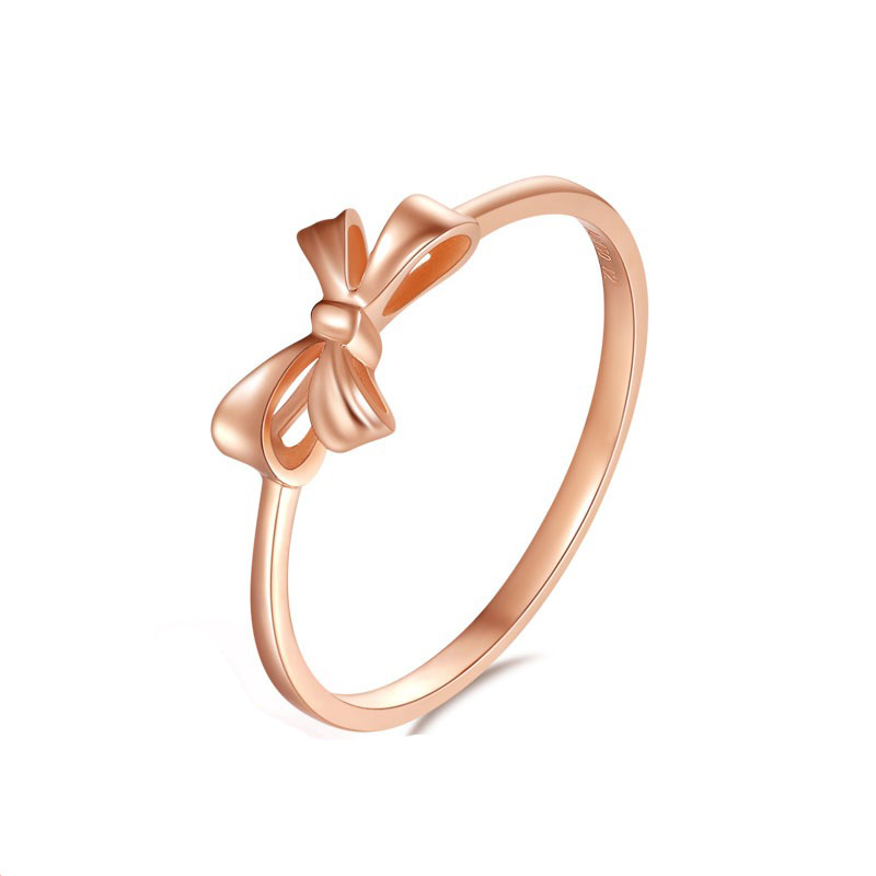 Delicate 18K AU750 True Solid Gold Rose Color Bowknot Rings Bands for Women Female Girl Gift Fine Jewelry US Size 5-8.5Delicate 18K AU750 True Solid Gold Rose Color Bowknot Rings Bands for Women Female Girl Gift Fine Jewelry US Size 5-8.5