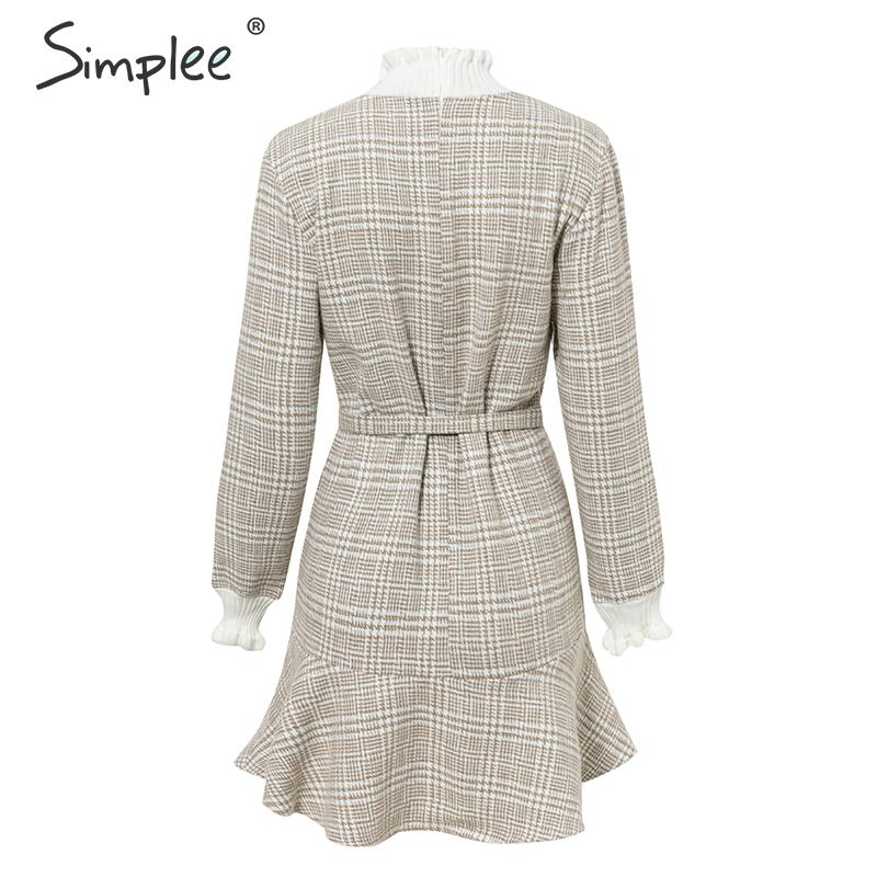 Simplee Elegant plaid dress women Turtle neck knitted short dress female Ruffle sashes vintage autumn office ladies vestidos 12