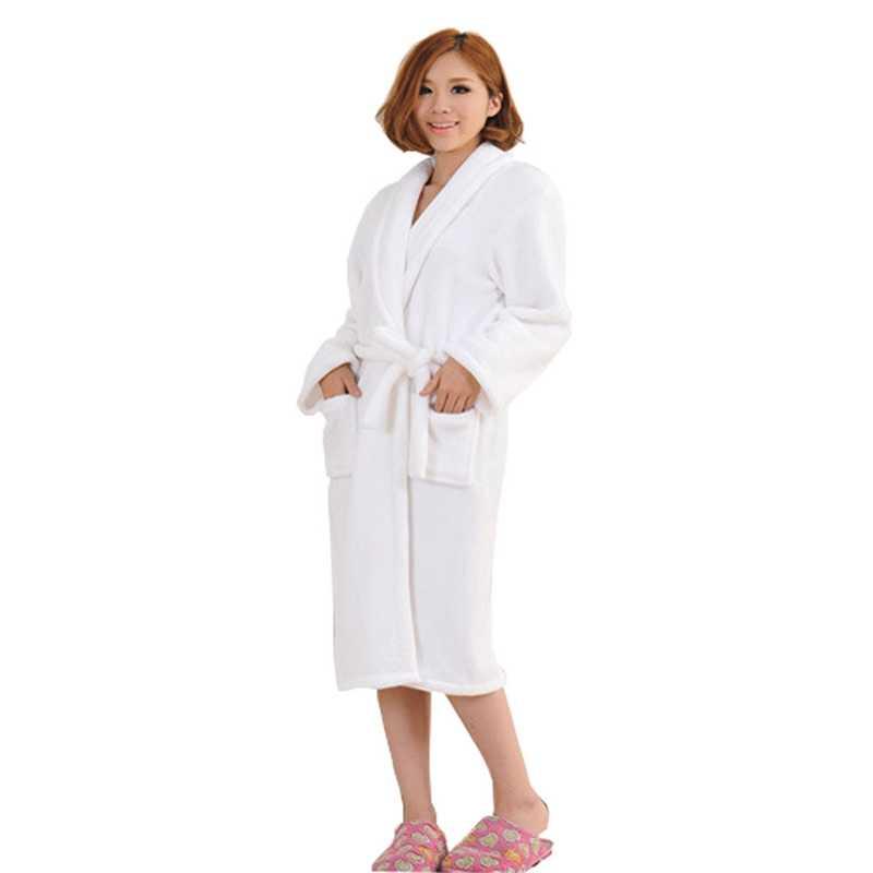 0fdb23c253 ETOSELL Flannel Women Men Sleepwear Robe Thicken Warm Winter Shower Spa  Robes Bath Bathrobe Sleep Nightgown