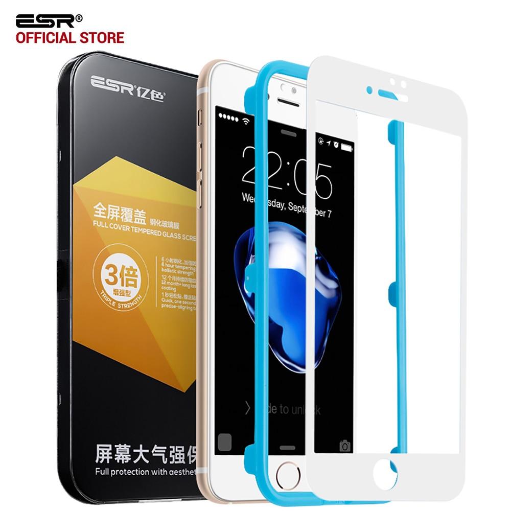 imágenes para Protector de pantalla para iPhone 7/7 Plus, ESR Pantalla Completa Fácil de Instalar A Prueba de Arañazos Claro de Cristal Templado de Cine para iPhone7 7 Plus