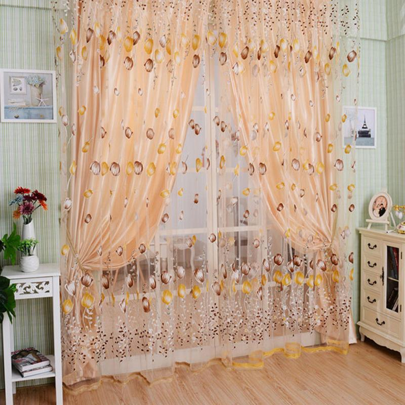 1 2m flower curtain transparent tulle curtains window for M s living room curtains