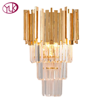 Youlaike Gold Modern Wall Sconce Light Crystal Wall Luxury Creative Warm Hallway Bedroom Bedside Lamp