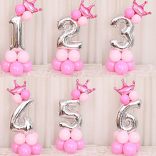 Mmqwec 32/40 дюймов серебро номер Фольга Набор воздушных шаров на день рождения цифры 0-9 Корона гелиевый воздушный шар, Покупаете ли вы для мальчика или Платье на день рождения поставки