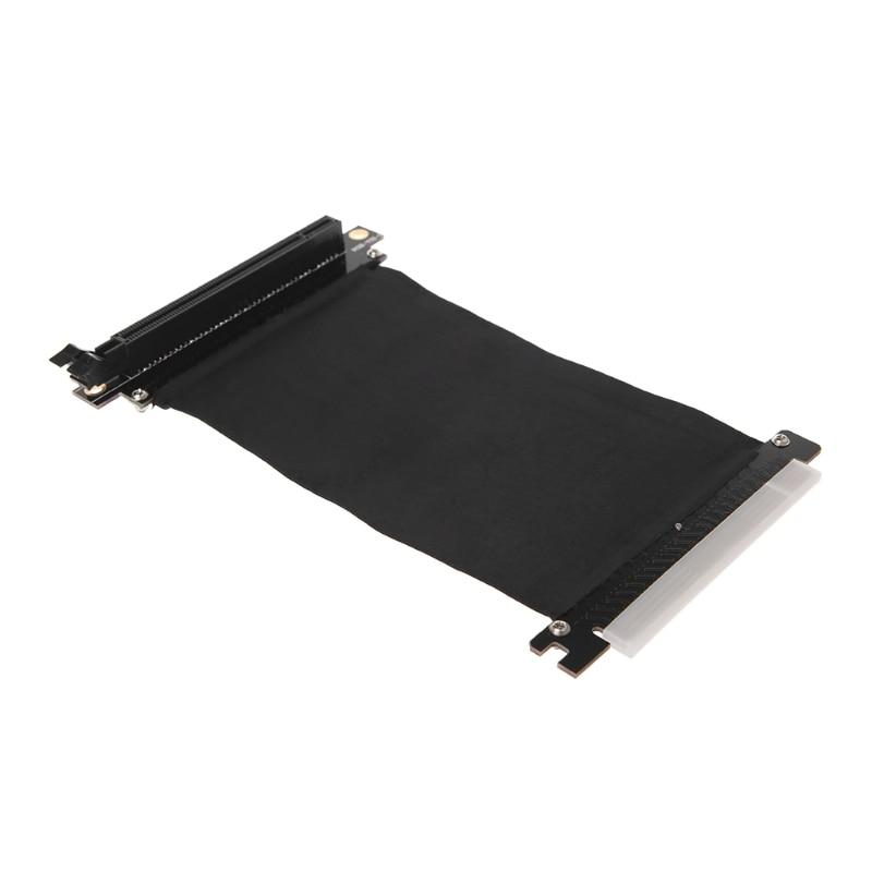 Bilgisayar ve Ofis'ten Eklenebilir Kartlar'de PCI Express PCI e 16x esnek kablo kartı uzatma Port adaptörü yüksek hız yükseltici kart sağ açılı X6HA title=