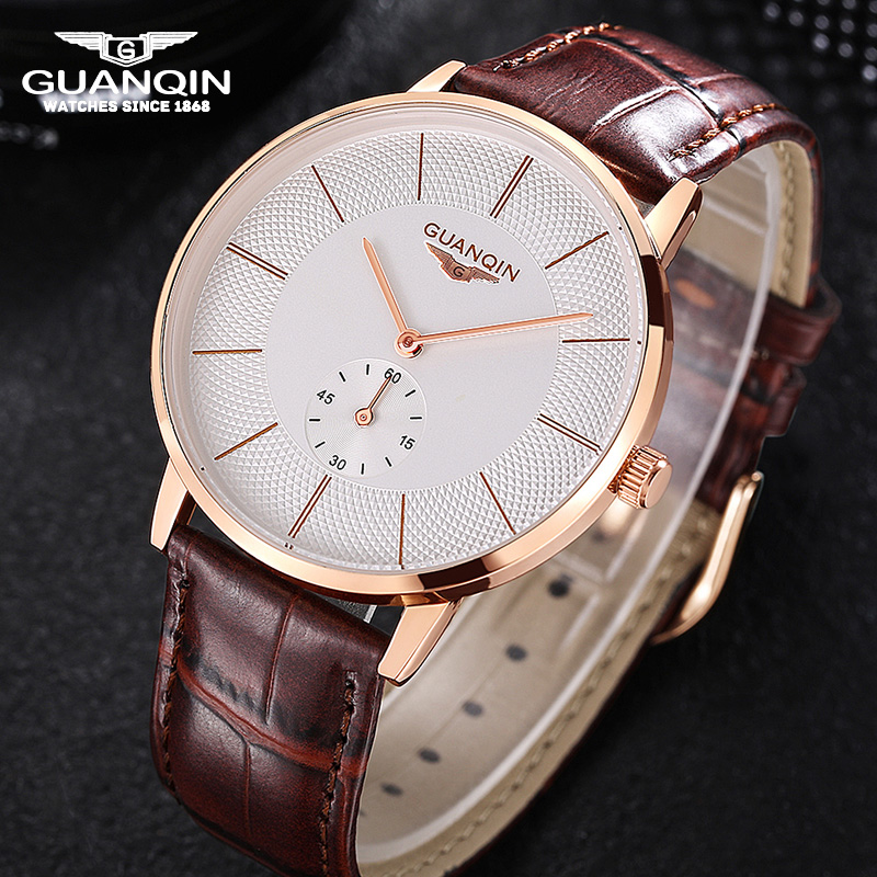 GUANQIN Men Leather Strap Wristwatch Luxury Casual Big Dial Quartz Watches Men Relogio Masculino Waterproof Men Watch