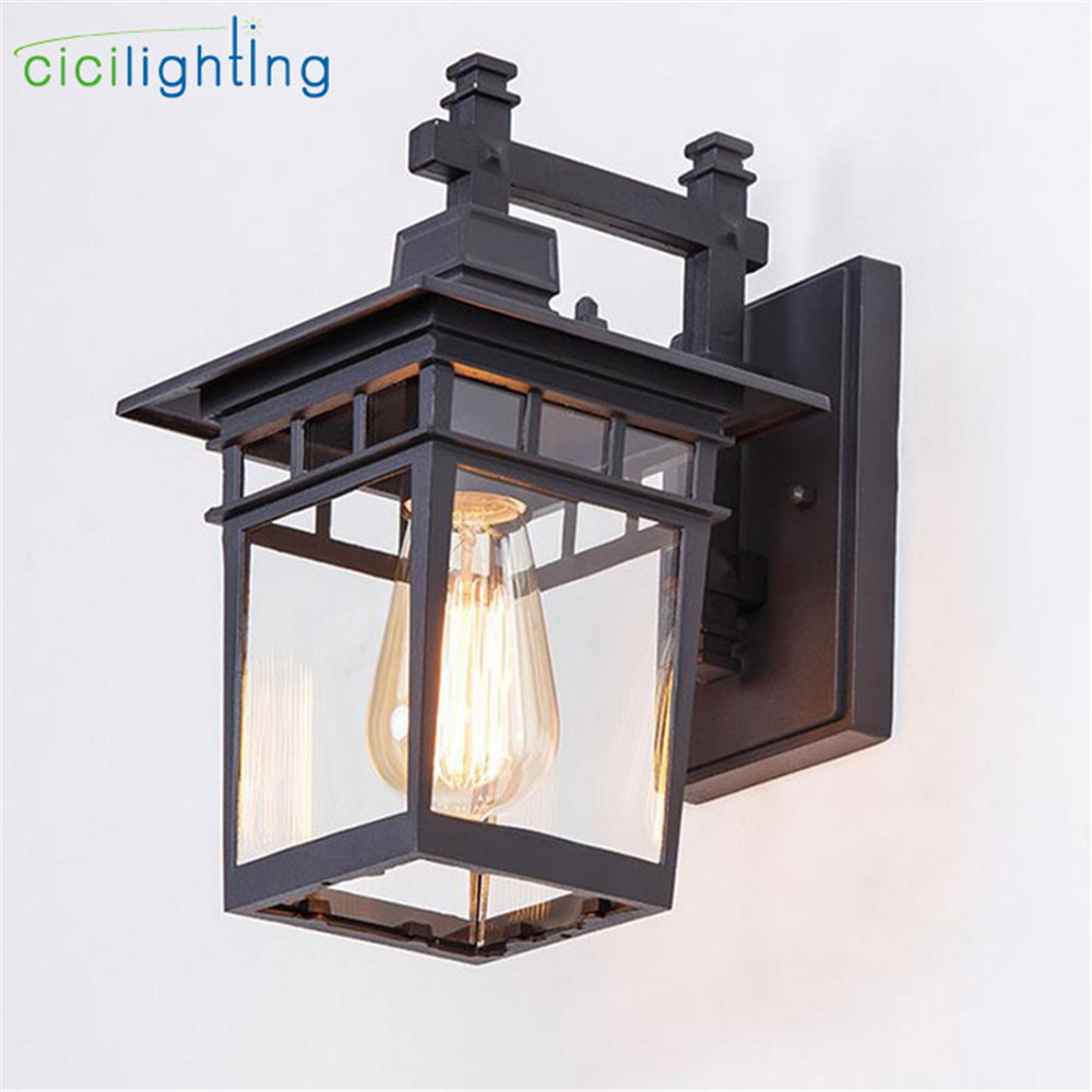 Vintage Art decoration outdoor porch lights Aluminum + glass lampshade waterproof E27 wall lamp red bronze black balcony sconces|outdoor porch light|porch lights|wall sconces outdoor - title=