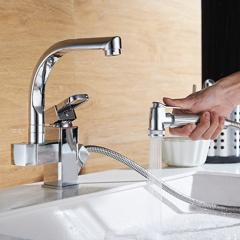 AUSWIND Modern Silver Polish Kitchen Pulls Brass Faucet Hot And Cold Wash Dish Basin Telescopic Can Rotate Bathroom Hardware Set dish best served cold