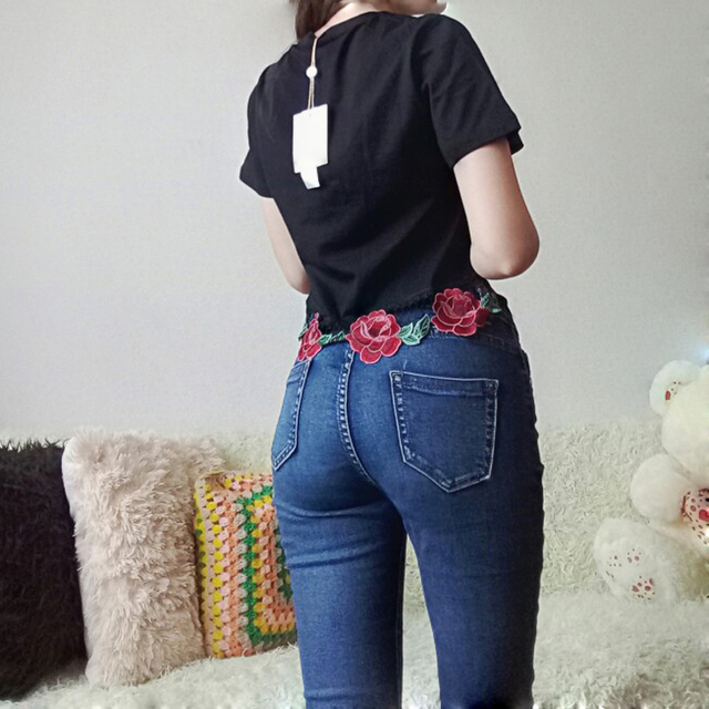 Women Fashion Flower Embroidery Crop Top T-shirt