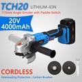 20 V Lithium-Ionen 4000 mAh Elektrische Winkel Grinder mit Paddel Schalter Cordless Schleifen und Polieren Power Tool M14 spindel Gewinde