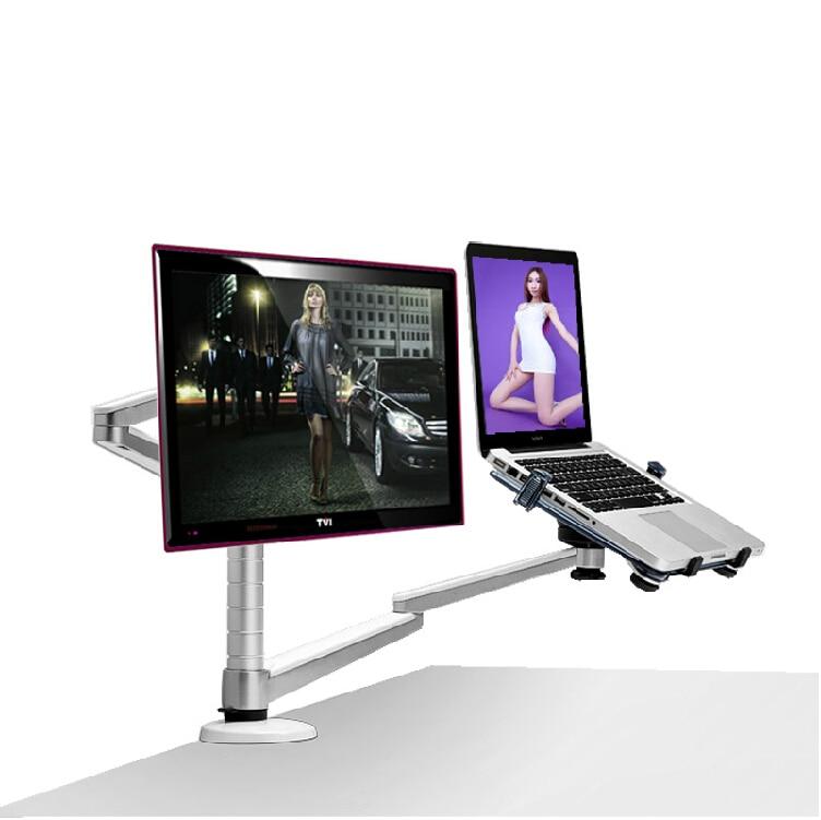 bilder für Aluminium-legierung Notebook Ständer Halter für 10-15 zoll Laptop + Monitor Max 27 zoll Dual Arm Universal Rotation steht OA-7X Lapdesk