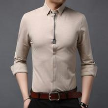 fa6f432c9b7 2019 Топ класс модный бренд рубашки для мальчиков для Мужчин узор корейский  с длинным рукавом Slim Fit уличная японская одежда р.