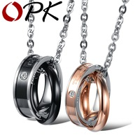 OPK JEWELRY 100 Quality Guaranteed 316L Stainless Steel Circle Necklace Engrave The Only Eternal Love Couple