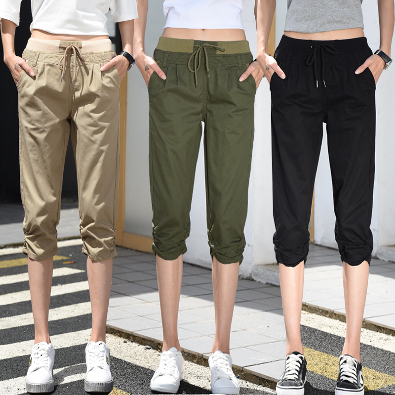 Elastic Waist Women   Capris     Pants   Summer 2018 Plus Size Casual For Women Solid Color   Capris   Calf-Length   Pants