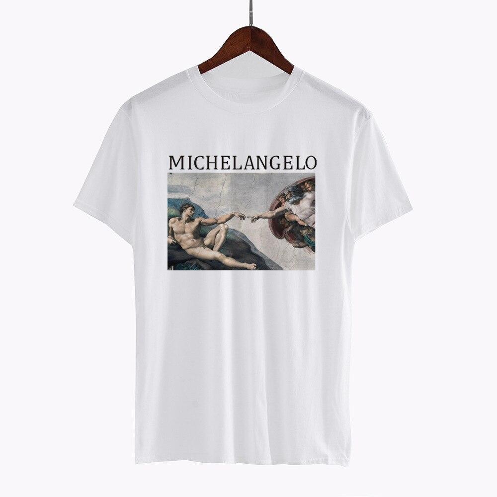 Create Adam Print Pattern T-shirt 2018 Summer New Women Cotton Basic O-neck Loose Female Short Sleeve Tshirt Camisetas Vogue