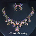 Luxury Gold Plated Jewelry Flower MultiColored CZ Crystal Big Statement Necklaces And Earring Sets For Women T184